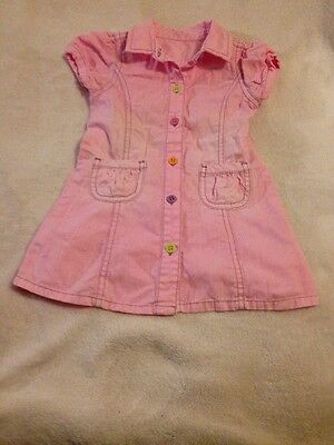 Baby girls pink shirt dress size 0 mothercare