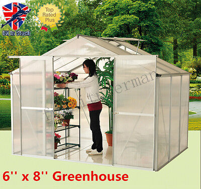 "Panana 6"" x 8""  Clear Polycarbonate Garden Greenhouse Aluminium With Slide Door"
