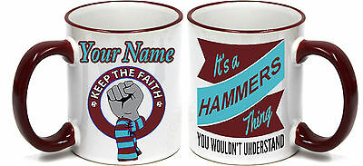 PERSONALISED  FOOTBALL MUG FOR ALL West Ham United‎  FOOTBALL FANS.