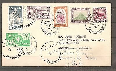 Lettre Jordan To Lebanon Liban Beyrouth To Usa 1958 Registered By Airmail