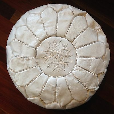 Brand New White Moroccan Leather Pouf Pouffe Ottoman Footstool
