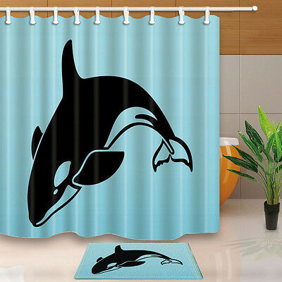 Killer Whale Bathroom Decor Shower Curtain Waterproof Fabric w/12 Hook 71*71IN