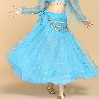 Full Circle Belly Dance Sequins Swing Skirt Carnival Gypsy Skirts Fancy Costumes