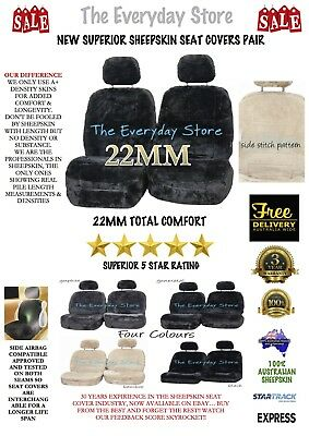 New Top Quality Genuine Sheepskin Car Seat Covers Pair 22mm TC Airbag Compatible