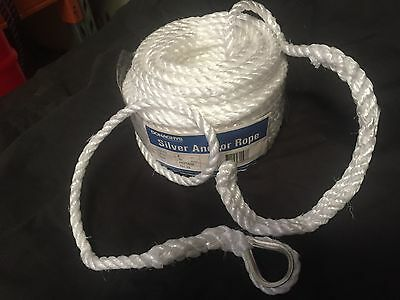 ANCHOR ROPE 8mm x 30m SILVER WITH THIMBLE & SPLICE MARINE BOATING CHEAP MOORING