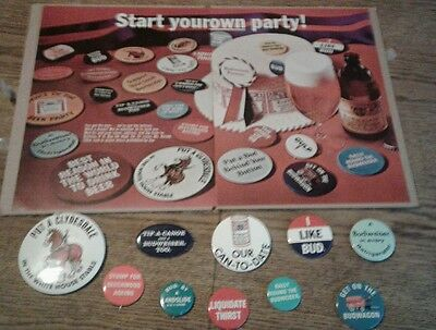1968 Budweiser Beer Party Lot of 10  Campaign Buttons & Vintage Magazine Sale Ad