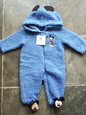BNWT Baby Boy's Mickey Mouse Blue Polyester Hooded Fluffy Coverall Size 00