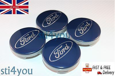 4x Ford 54mm Blue Alloy Wheels Centre Caps Fits Most Models Focus Fiesta Mondeo