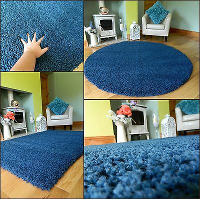New Medium X Large Navy Blue Thick Heavy Soft Quality Shaggy Pile Rug Mat