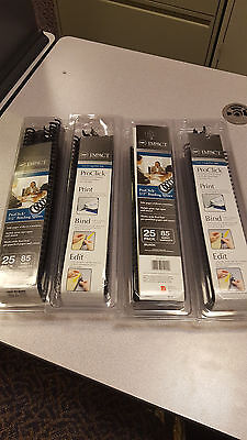 """GBC ProClick 1/2"""" Black Binding Spines 25 Pack -4 packages total sold as set"""
