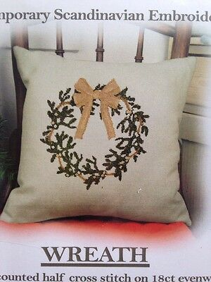 Embroidery Kit Cross Stitch Cushion Cover Anette Eriksson Wreath Pillow Front