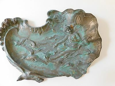 Antique Art Nouveau Cast Metal Tray Art Nouveau Water Nymph Fairy Large Tray 16""