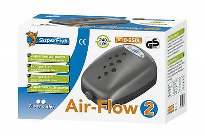 Superfish Air Flow 2 Budget Air Pump Aquarium Fish Tank Airpump 240L/H 2 Outlets