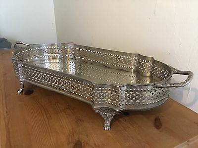 """Pre-owned Vintage Style Plated Galleried Claw Feet Drinks Tray 20"""""""