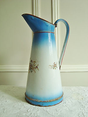 Very Pretty French Enamel Pitcher Water Jug Meadow Flowers French Blue & White