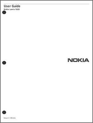 Nokia Lumia 1020 Cell Phone User Guide Instruction Manual
