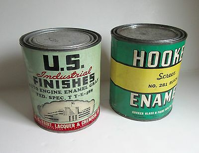 Two Antique Paint Cans Tin Advertising / Nice Paper Label Chicago