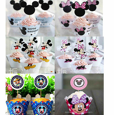 Pk12 Mickey Minnie Mouse Cupcake Liners Wrappers Cake Toppers Cake Party Supply