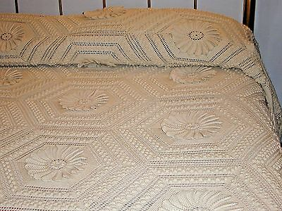 "Antique Victorian Crochet Bedspread~Very Elaborate Pattern 93""X 125"" Excellent"