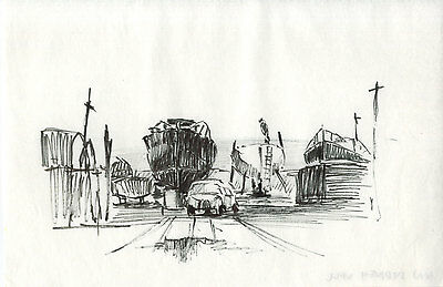 Sydney Vale FRSA - Mid 20th Century Pen and Ink Drawing, Shipyard