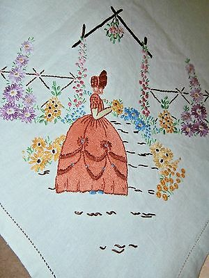 """OFF WHITE IRISH LINEN/HAND WORKED EMBROIDERY TABLECLOTH~40"""" x 40""""~Crinoline Lady"""