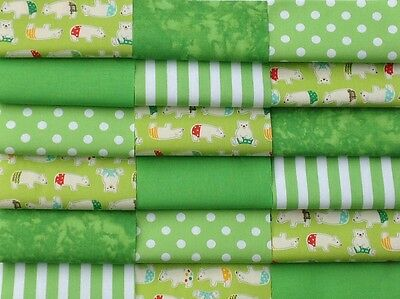 """Fabric patchwork squares 30 x 4"""" 10cm  cotton quilting craft baby lime green 8A"""