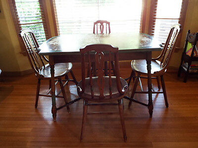 Vintage Wooden Dining Room Extending Leaf Table & 4 Chairs Set Walter Wabash