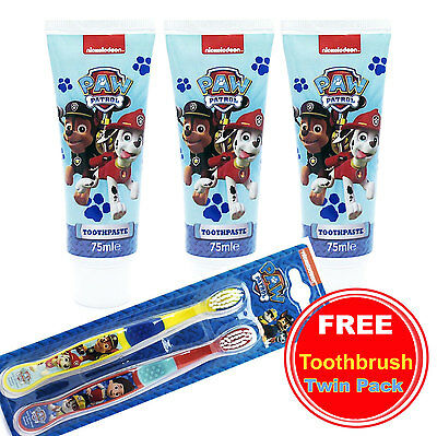 Kids Children Toothpaste Set Paw Patrol With FREE Toothbrush Twin Pack A Gift