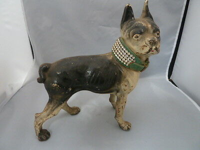 Antique HUBLEY Cast Iron Boston Terrier ART DECO Dog Statue DOORSTOP   Collar