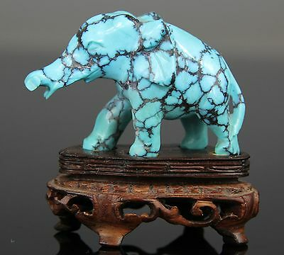 Rare Chinese Turquoise Carved Figure Boy Buddha Statue Elephant - 19th C.