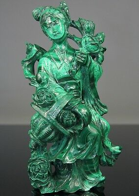 Rare Chinese Malachite Kwanyin Buddha Stone Carved Carving Figure - Qing 19th C.
