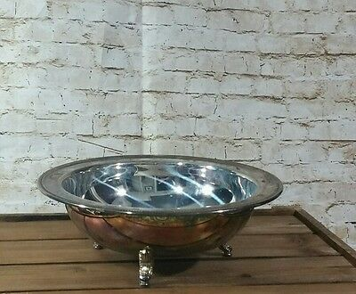 """Vintage 10"""" ONEIDA U.S.A. Ornate Footed Silver Plate Serving Bowl Dish"""