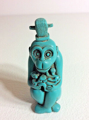 Vintage MONKEY Carved Blue Turquoise Collectible Snuff Bottle with Spoon