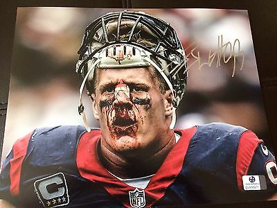 JJ Watt Hand Signed Houston Texans NFL Jersey Photo 8 X 10 COA