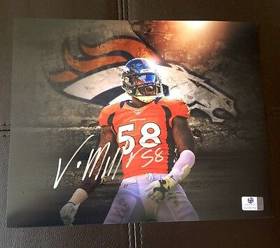Von Miller Denver Broncos Hand Signed NFL Jersey Photo 8 X 10 COA Super Bowl MVP