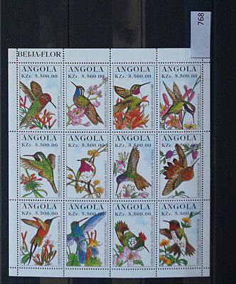 S0 0768 Birds Oiseau Vogel Angola MNH Sheet of 12