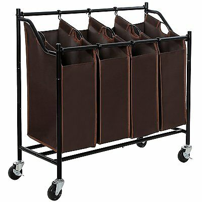 4 Bag Brown Rolling Laundry Sorter Cart Heavy Duty Sorting Hamper Brake Casters