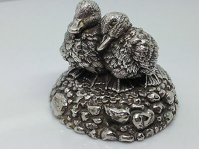 Sterling Silver 'COUNTRY ARTISTS' Beautiful Pair Of DUCKS Statue Langford -1990