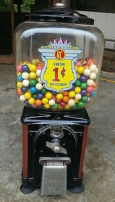 Nice RC 1 Cent Gumball Machine w/Key and Contents Rare Antique Vintage