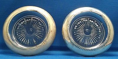 2 Vintage Frank M Whiting Sterling Silver & Pressed Glass Coaster or Ashtray Set