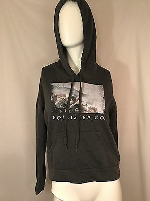 Hollister Women's Hoodie Pullover Gray Long Sleeve Graphic Pocket Size Small