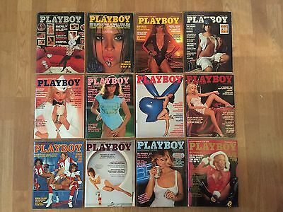 Vintage 1977 Playboy Lot of 12 Magazine Issues Full Year
