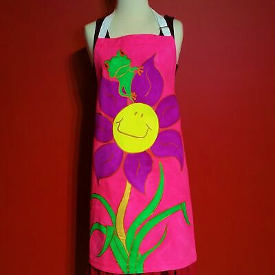 Fairtrade Apron - Hand Painted, Patricia and her favourite flower!