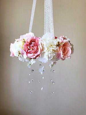 Handmade Flower Mobile - Shabby Chic - Crystals - Exclusive to my eBay shop!!