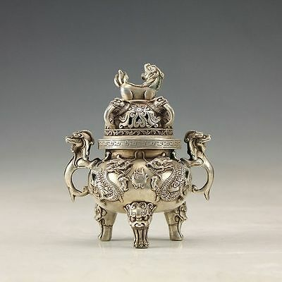 CHINESE BUDDHISM HANDWORK OLD SILVER COPPER Heavenly DRAGON INCENSE BURNER