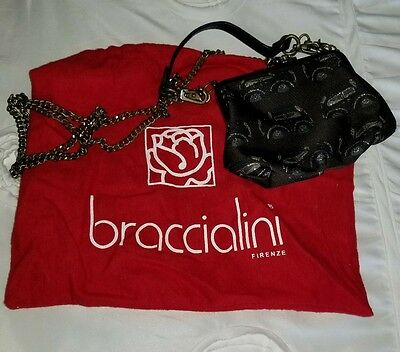 Braccialini brown fabric and black leather cars bag purse chain crossbody Italy