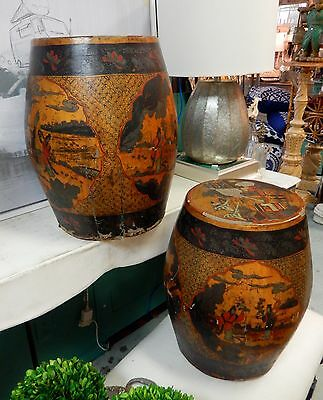 Vintage/antique Pair Of Amazing Asian Hand Painted Leather Covered Drums/tables