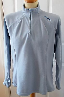 "Quechua ~ Long Sleeved Pale Blue Fleece Top ~ Zip Neck ~ Size Large (44"" Bust)"
