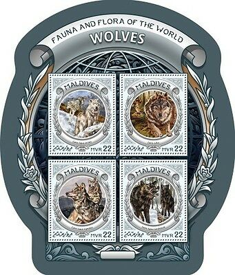 Z08 IMPERFORATED MLD16604a MALDIVES 2016 Wolves MNH