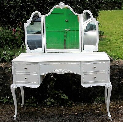 French Louis Style Dressing Table with Gate Fold Mirror and Stool Antique White